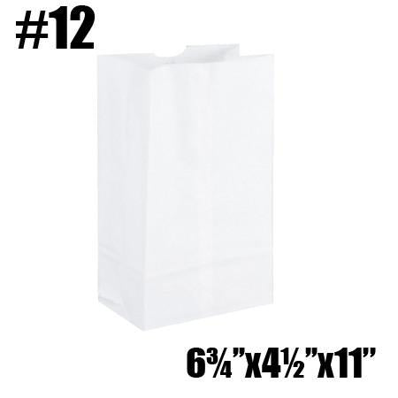 #12 TO GO PAPER BAGS, WHITE - 500 PC / CS