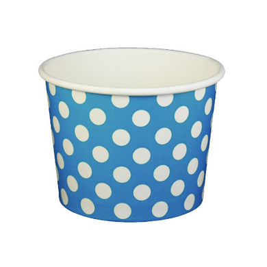 16 OZ. PAPER YOGURT CUPS, POLKA DOT BLUE - 1,000 PCS/CS (ITEM: 21661) - CarryOut Supplies