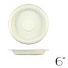 "6"" BIODEGRADABLE ROUND PLATE W/ VERTICAL STRIPE, BEIGE - 1,000 / CS - (Item: 5311) - CarryOut Supplies"