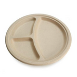 "9"" TREE FREE HEAVY MOLDED BAGASSE ( BAMBOO / SUGARCANE ) PLATES, 3 - COMPARTMENTS - 500 PCS/CS"