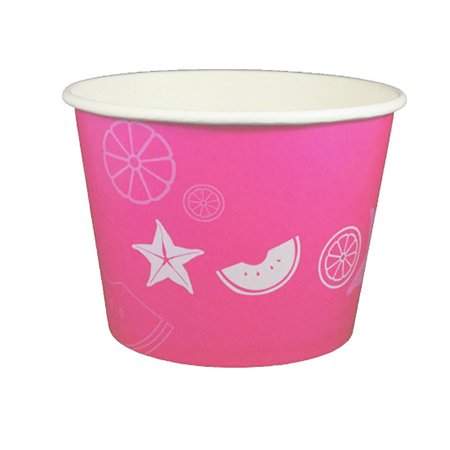 32 OZ. PAPER YOGURT CUPS, FRUIT PATTERN PINK - 600 / CS - (Item: 23850)