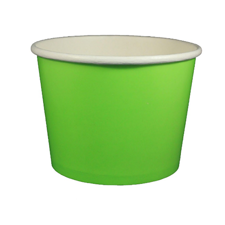 32 OZ. PAPER YOGURT CUPS, SOLID COLOR GREEN - 600 / CS - (Item: 23851)