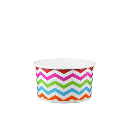 05 OZ. PAPER YOGURT CUPS, CHEVRON PRINT RAINBOW - 1,000 / CS - (Item: 20589)