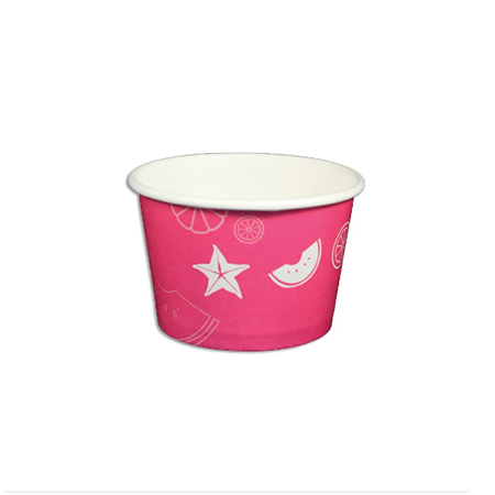 08 OZ. PAPER YOGURT CUPS, FRUIT PATTERN PINK - 1,000 / CS - (Item: 23809) - CarryOut Supplies
