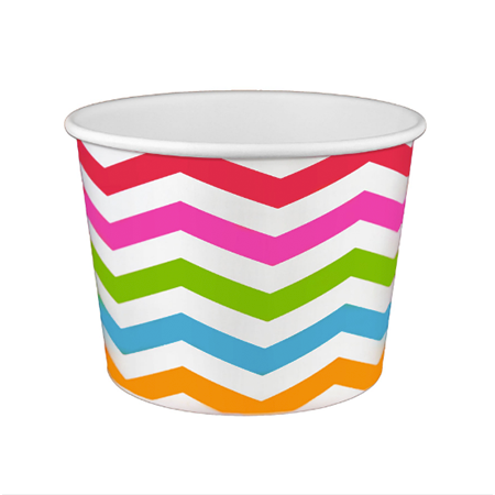 20 OZ. PAPER YOGURT CUPS, POLKA DOT RAINBOW - 600 / CS - (Item: 22089) - CarryOut Supplies