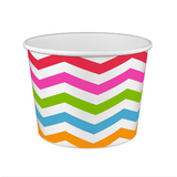 20 OZ. PAPER YOGURT CUPS, POLKA DOT RAINBOW - 600 / CS - (Item: 22069)