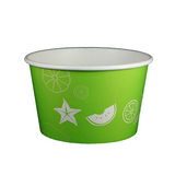 24 OZ. PAPER YOGURT CUPS, FRUIT PATTERN LIME GREEN - 600 / CS - (Item: 23833)