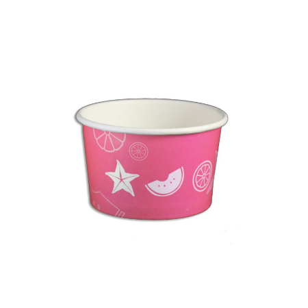05 OZ. PAPER YOGURT CUPS, FRUIT PATTERN PINK - 1,000 / CS - (Item: 20524)