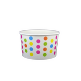 3 OZ. PAPER YOGURT CUPS, POLKA DOT RAINBOW - 50 / CS - (Item: 20369)