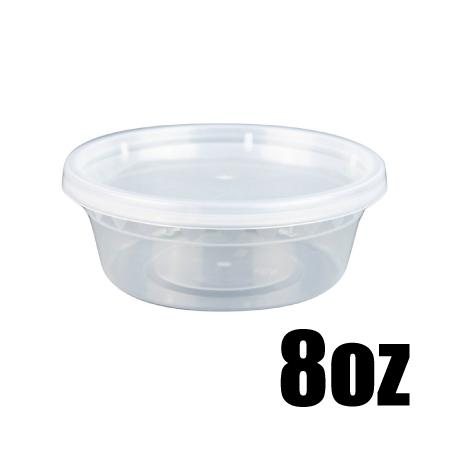08 OZ. CLEAR ROUND DELI CONTAINER COMBO - 240 CONTAINERS / CS - CarryOut Supplies