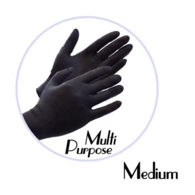 NITRILE GLOVES BLACK POWDER FREE (MULTI PURPOSE) - MEDIUM - 1,000 GLOVES / CS - CarryOut Supplies