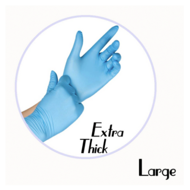 NITRILE GLOVES BLUE POWDER FREE (EXTRA THICK)- LARGE - 500 GLOVES / CS - (Item: 4777) - CarryOut Supplies