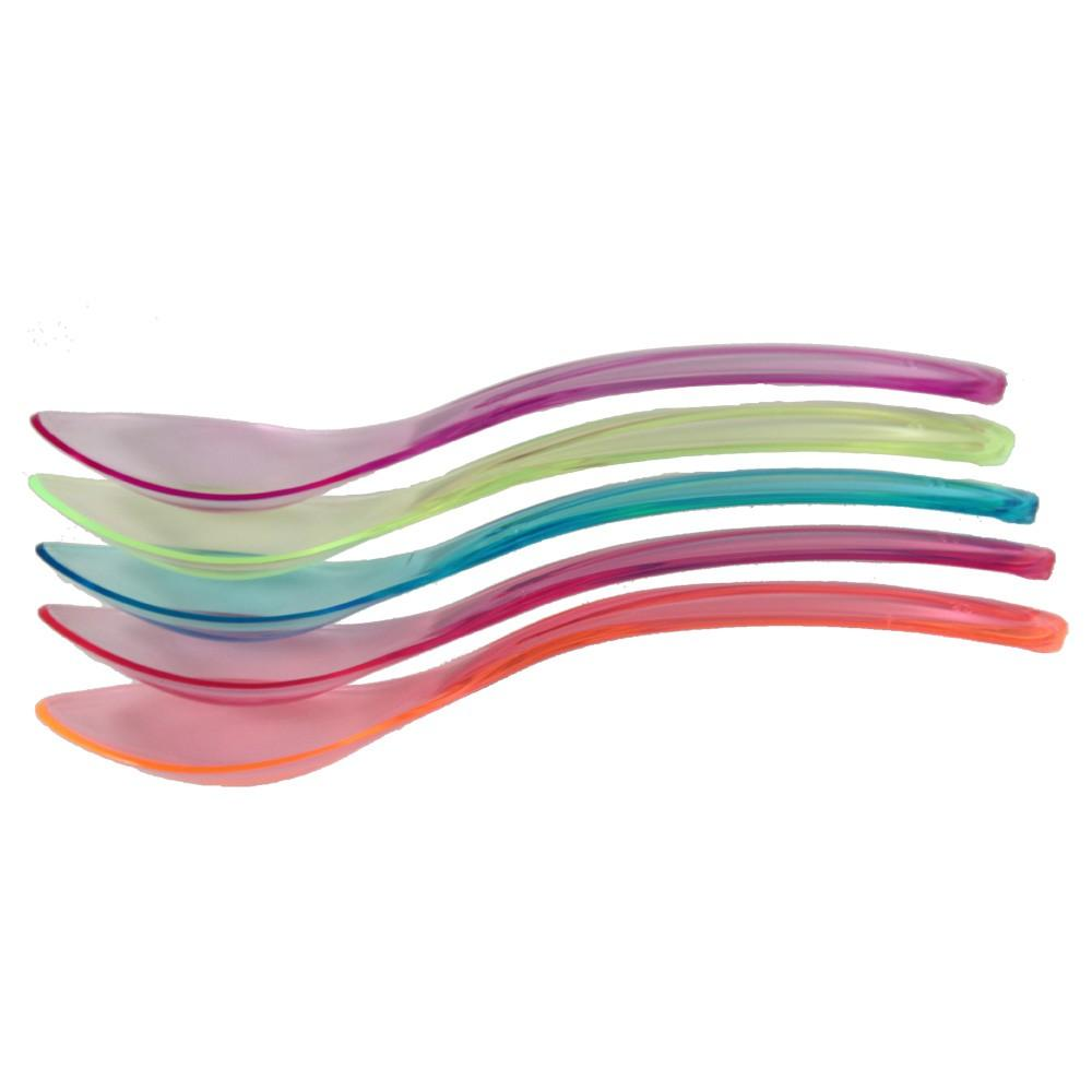 PLASTIC TRANSPARENT WAVE SPOONS, ASSORTED COLORS - 1,000 / CS - (item code: 1259) - CarryOut Supplies