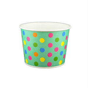 16 OZ. PAPER YOGURT CUPS, POLKA DOT AQUA RAINBOW - 1,000 / CS - (Item: 21670) - CarryOut Supplies