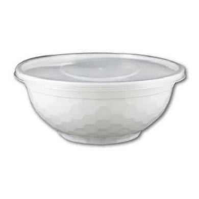 DIAMOND PATTERN PLASTIC BOWL W/ CLEAR LIDS COMBO (32 OZ, WHITE, PP) - 150 SETS - (Item: 54332W) - CarryOut Supplies