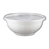 DIAMOND PATTERN PLASTIC BOWL W/ CLEAR LIDS COMBO (32 OZ, WHITE, PP) - 50 SETS - (Item: 5232DBW)