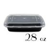 28 OZ BLACK RECTANGULAR TAKE-OUT BOX COMBO - 150 SETS / CS - (Item: 5128BK) - CarryOut Supplies