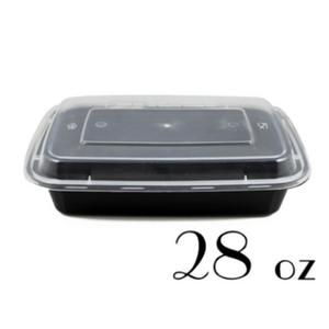 28 OZ BLACK RECTANGULAR TAKE-OUT MEAL PREP CONTAINER - 150 SETS / CS - (Item: 5128BK) - CarryOut Supplies