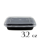 32 OZ BLACK RECTANGULAR TAKE-OUT BOX COMBO - 150 SETS / CS - (Item: 5132BK)