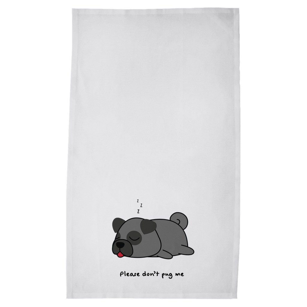 Black Pug Tea Towel