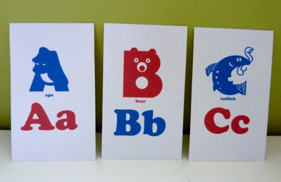 Alphabet Printable Flash Cards Red Blue