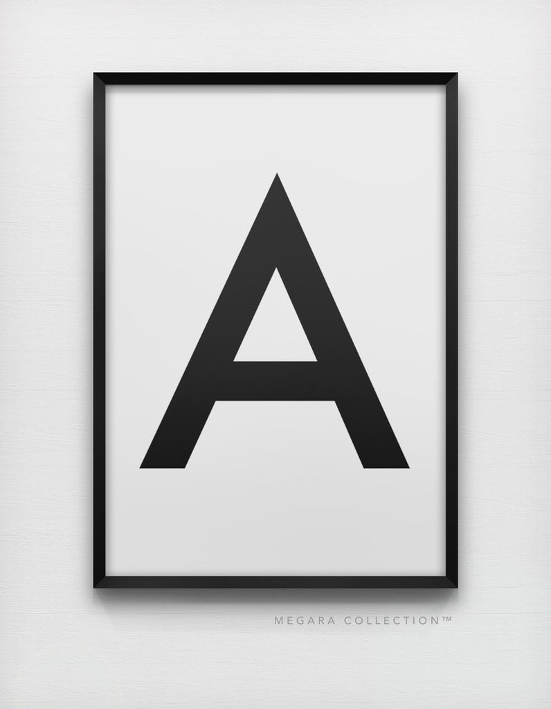 Uppercase letter A in sans-serif and black and white art print wall artwork