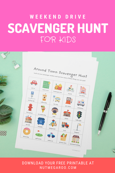 Around Town Weekend drive scavenger hunt free printable