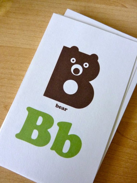 B is for bear flash card