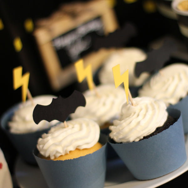 Batman Lightning Bolt Cupcake Topper Shape SVG