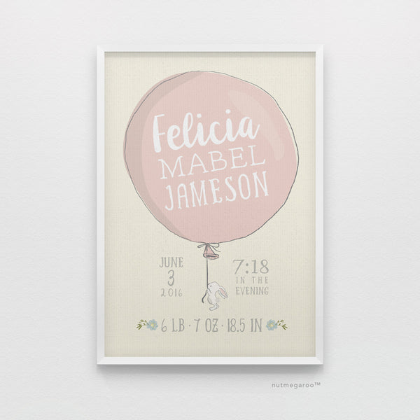 lil' bunny holding balloon birth stats art print