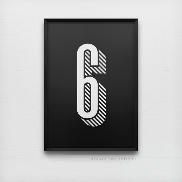 Lucky Number 6 - Minimalist Black & White Art Print Poster