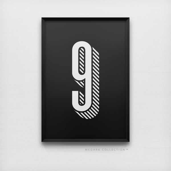 Lucky Number 9 - Minimalist Black & White Art Print Poster