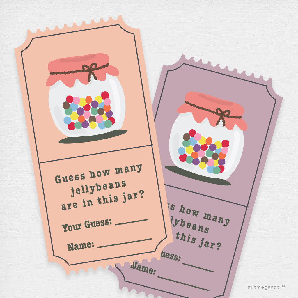 Jellybean Counting Game Raffle Tickets Printable Pink