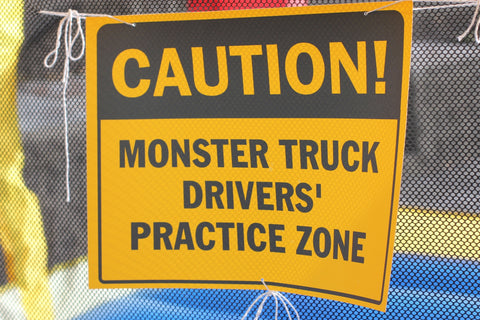 Caution Monster Truck Drivers Practice Zone Party Sign Printable, monster truck birthday party signage