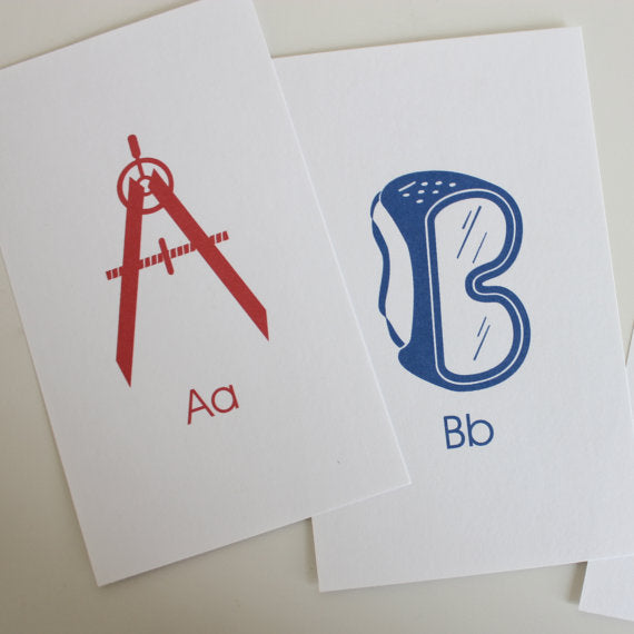 Construction ABC Flash Cards Printable Blue Red