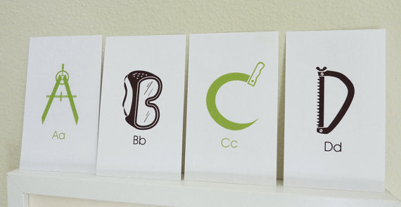 Construction ABC Flash Cards