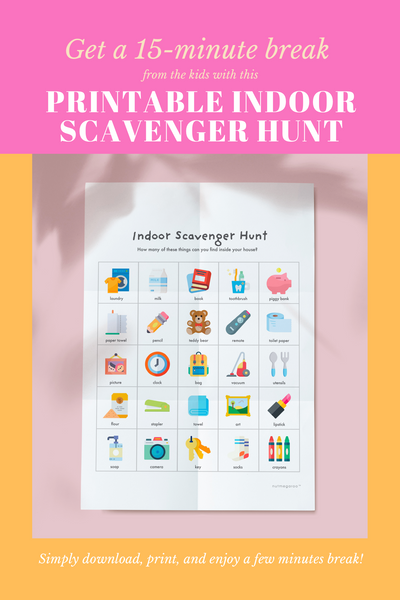 Indoor Scavenger Hunt for Kids, Stay at Home Kids Activities Free Printable