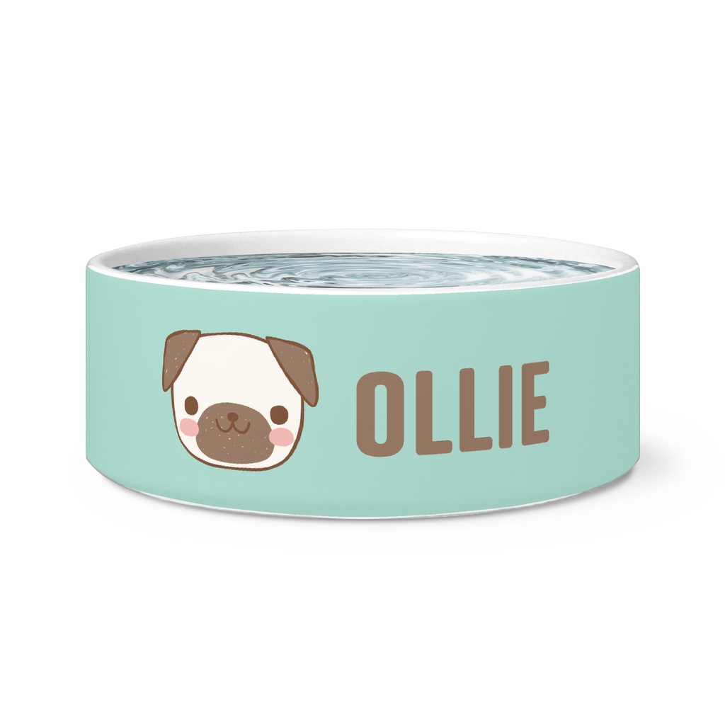 Personalized Pug Pet Dog Bowl