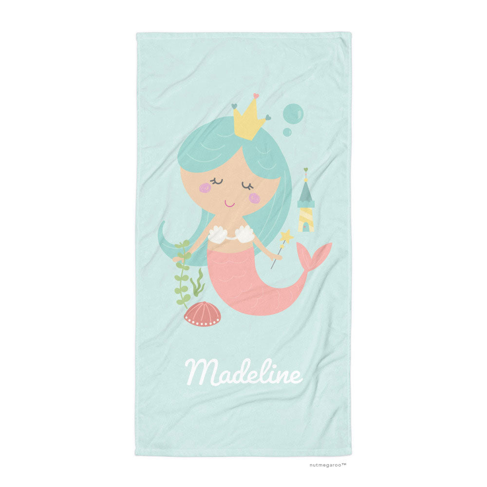 Mermaid Bath Towel Aquamarine Turquoise