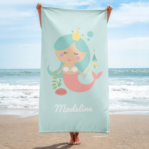 Mermaid Beach Towel Aquamarine Turquoise