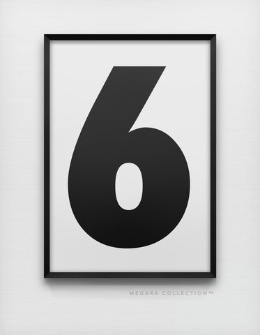Lucky Number 6 wall art print poster decor