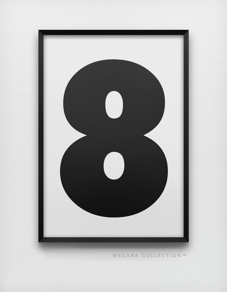 Lucky Number 8 art print wall poster decor