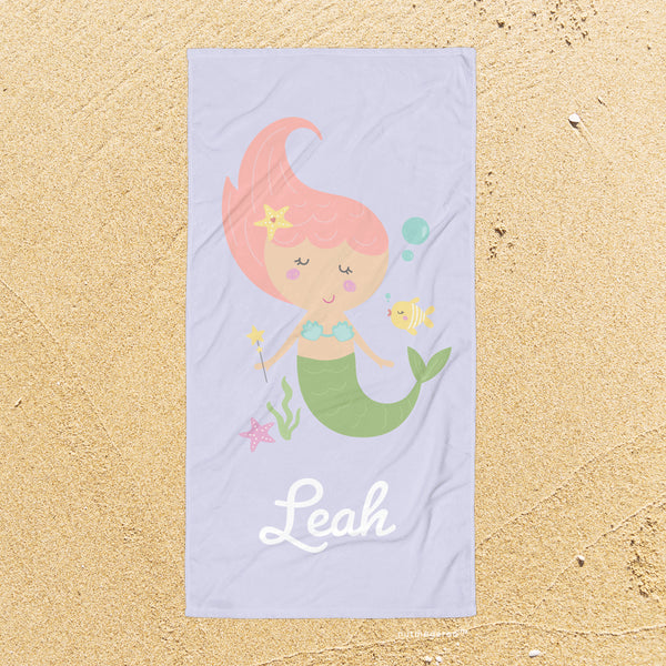 Personalized Mermaid Beach Bath Towel Lavender