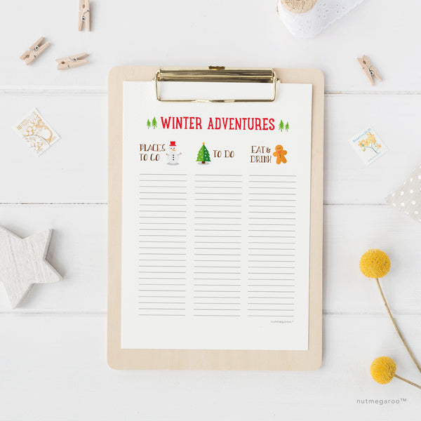 Winter Adventures Check off Bucket List - Free Printable