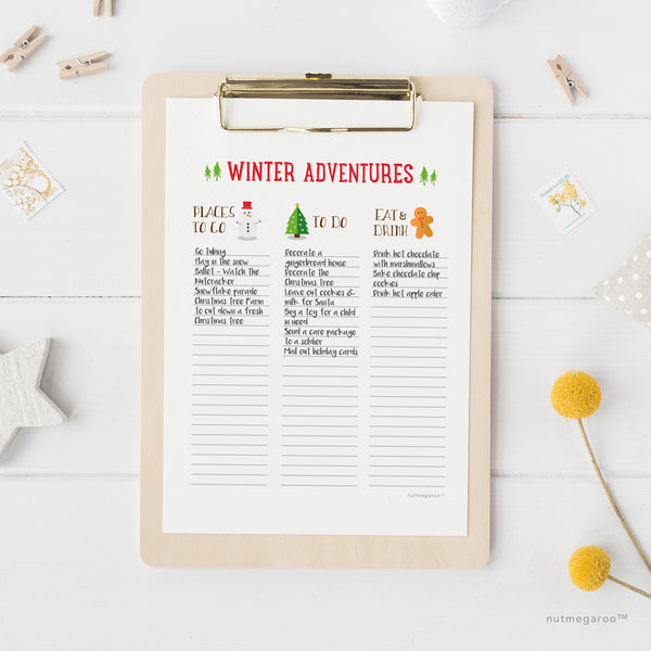 Winter To Do List, Winter Bucket List - Free Printable