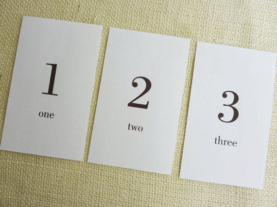 Printable Number Index Flash Cards