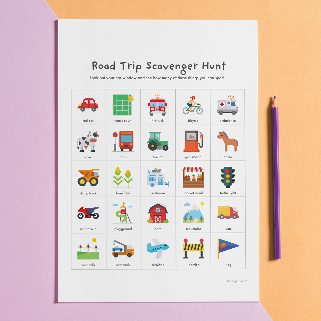 road trip scavenger hunt printable free