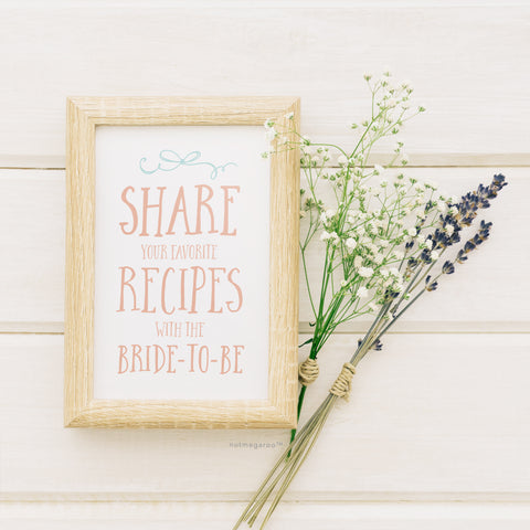 Bridal Shower Recipe Sign Printable in Pink and Blue
