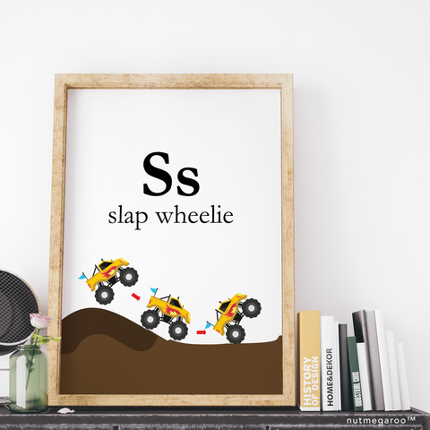 Ss for Slap Wheelie Monster Truck Art - Printable