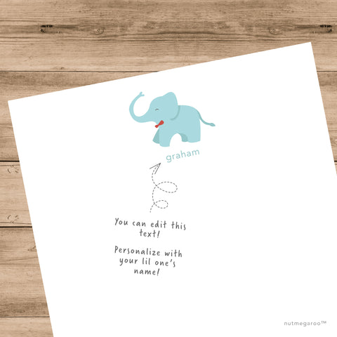 baby elephant stationery, boys stationery, personalized kids stationery